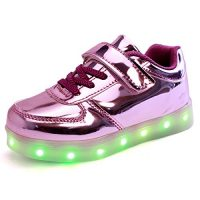 DoGeek Zapatos Led Deportivos 7 Color USB Carga LED Luz Glow Luminosos Zappatillas Light Up USB Velcro Flashing Zapatillas
