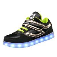 JSHOE Muchacho Zapatos Del LED USB Cargador Luminoso Zapatos Ocasionales Ayuda Colorida Alta Zapatos Del Tablero Para La Navidad Halloween