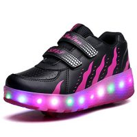 Jomotala Brillante Roller Skate Shoes Sneaker Shoes Colores Multi LED con Dos Ruedas Niñas Niños Sport Casual Shoes Zapatilla Ligera