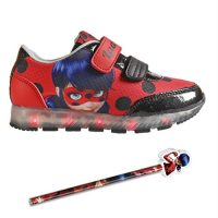 Prodigiosa – Ladybug – Zapatillas Deportivas con Luz – Cierre de Velcro, Deportivas Led Color Rojo Las Aventuras de Ladybug + Lapiz y Goma de Regalo
